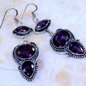 Am 1363a boucles pendants oreilles amethyste pourpre violet 1900 achat vente argent 925