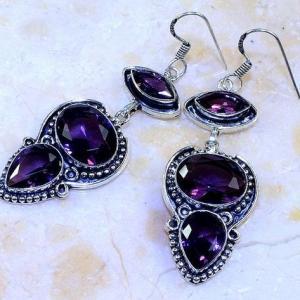 Am 1363b boucles pendants oreilles amethyste pourpre violet 1900 achat vente argent 925