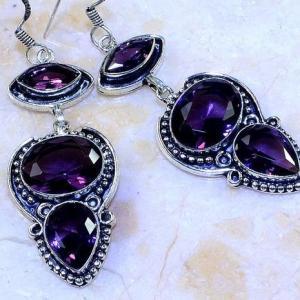 Am 1363c boucles pendants oreilles amethyste pourpre violet 1900 achat vente argent 925