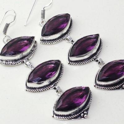 Am 1370c boucles pendants oreilles amethyste pourpre violet 1900 achat vente argent 925