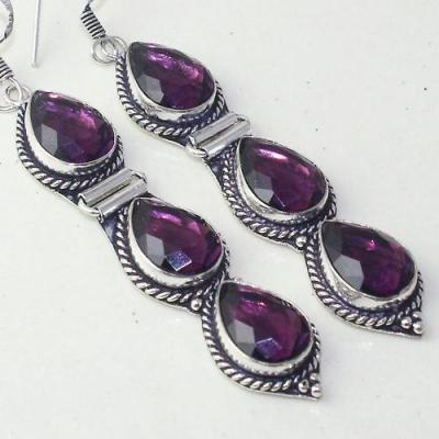 Am 1372c boucles pendants oreilles amethyste pourpre violet 1900 achat vente argent 925