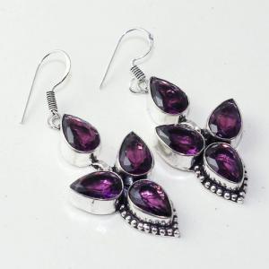 Am 1376a boucles pendants oreilles amethyste pourpre 14gr violet 1900 achat vente argent 925