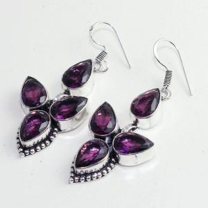 Am 1376b boucles pendants oreilles amethyste pourpre 14gr violet 1900 achat vente argent 925