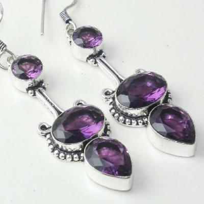 Am 1377c boucles pendants oreilles amethyste pourpre violet 1900 achat vente argent 925
