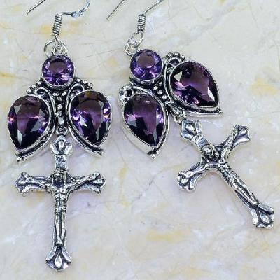 Am 1378b boucles pendants oreilles croix amethyste pourpre violet 1900 achat vente argent 925