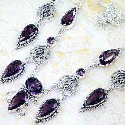 Am 1379b parure collier boucles oreilles amethyste violet 1900 bijoux achat vente argent 925