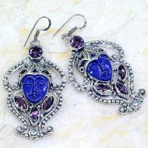 Am 1380a boucles pendants oreilles bouddha amethyste pourpre violet 1900 achat vente argent 925