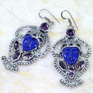 Am 1380b boucles pendants oreilles bouddha amethyste pourpre violet 1900 achat vente argent 925