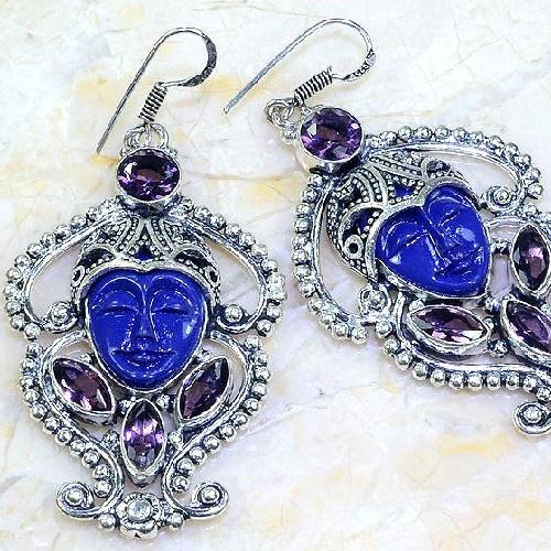 Am 1380c boucles pendants oreilles bouddha amethyste pourpre violet 1900 achat vente argent 925