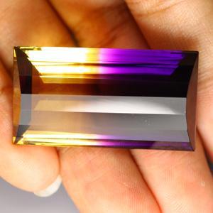 AM-16085 - Rare ! AMETRINE de BOLIVIE bicolore taillée émeraude 33,7 x 18,8 x 12,5 mm - 67,90 carats - 13,6 gr