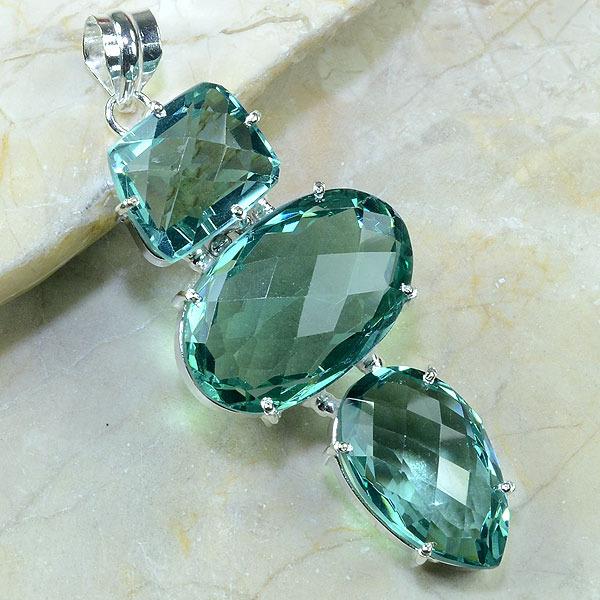 Am 2012a pendant pendentif pierre taillee amethyste verte gemme achat vente argent 925