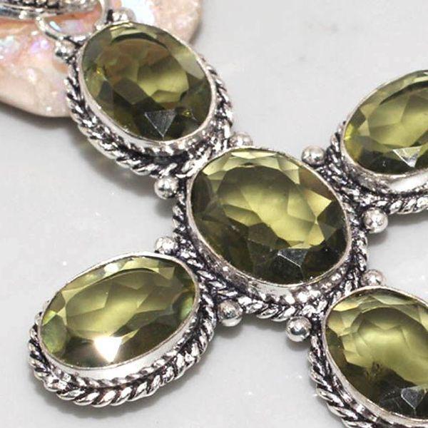 Am 2063c pendentif croix pendant amethyste verte pierre taillee gemme argent 925 achat vente bijoux