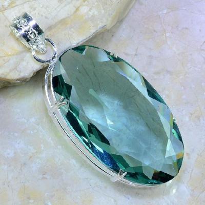 Am 2067a pendentif pendant amethyste verte pierre taillee gemme argent 925 achat vente bijoux
