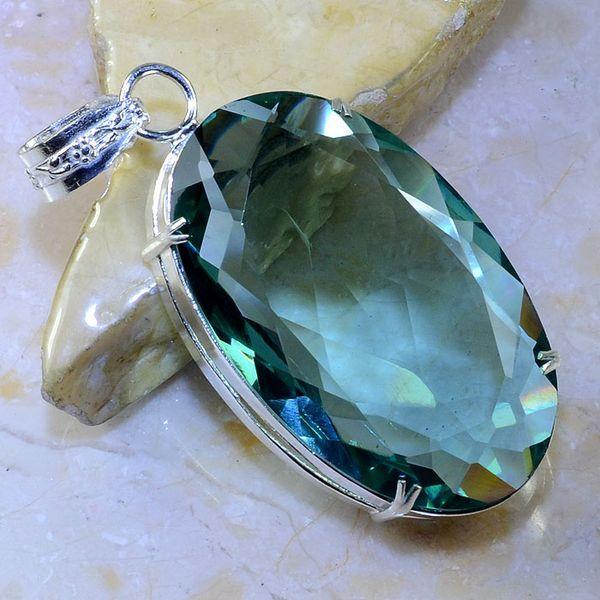 Am 2081a pendentif pendant amethyste verte pierre taillee gemme argent 925 achat vente bijoux