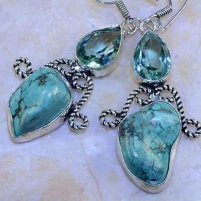Am 3146b boucles oreilles pendants aigue marine turquoise verte bijou achat vente argent 925