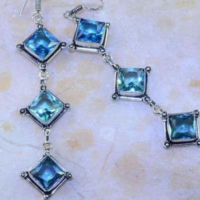 Am 3147c boucles oreilles pendants aigue marine verte bijou achat vente argent 925