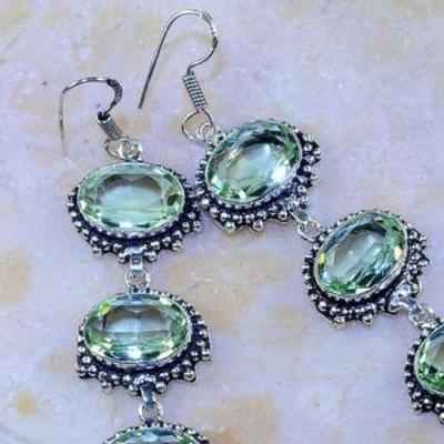 Am 3154c boucles oreilles pendants aigue marine verte bijou achat vente argent 925