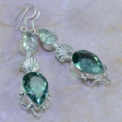 Am 3157a boucles oreilles pendants aigue marine quartz bijou achat vente argent 925