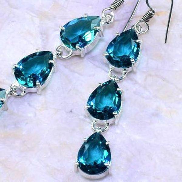 Am 3163c boucles oreilles pendants aigue marine 1900 bleue bijou achat vente argent 925