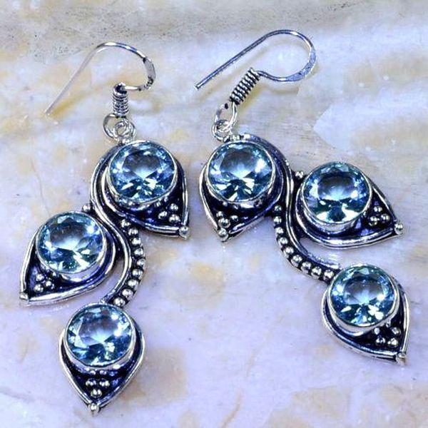 Am 3164a boucles oreilles pendants aigue marine 1900 bleue bijou achat vente argent 925
