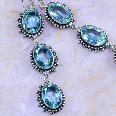 Am 3165c boucles oreilles pendants aigue marine 1900 bleue bijou achat vente argent 925