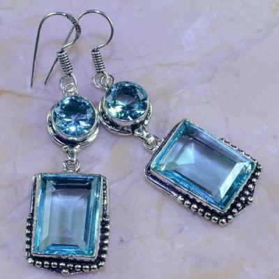 Am 3186a boucles oreilles aigue marine bleue bijou achat vente argent 925