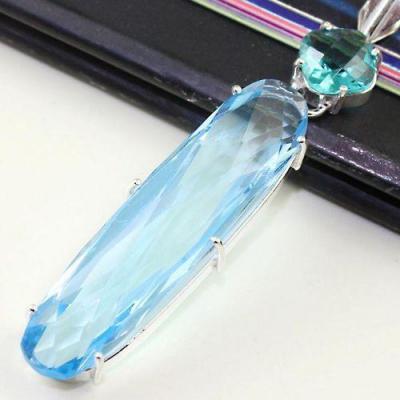 Am 3225c pendentif aigue marine topaze bleue bijou achat vente bijoux argent 925