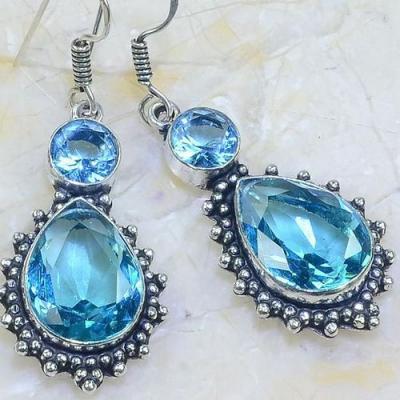 Am 3251c boucles oreilles pendants paire aigue marine bleue bijou achat vente argent 925