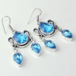 Am 3253a boucles oreilles pendants paire aigue marine bleue bijou achat vente argent 925
