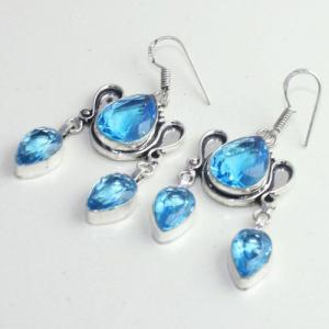 Am 3253b boucles oreilles pendants paire aigue marine bleue bijou achat vente argent 925