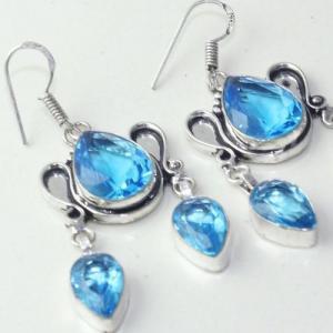 Am 3253c boucles oreilles pendants paire aigue marine bleue bijou achat vente argent 925