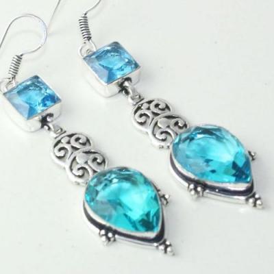 Am 3254c boucles oreilles pendants paire aigue marine bleue bijou achat vente argent 925