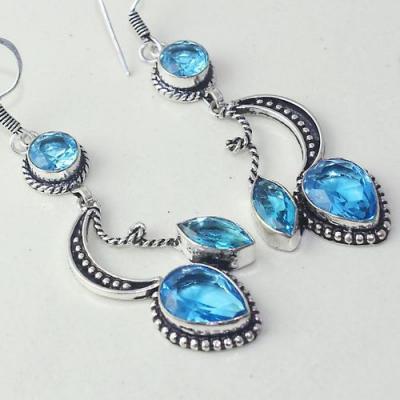 Am 3257c boucles oreilles pendants paire aigue marine bleue bijou achat vente argent 925