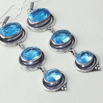 Am 3258c boucles oreilles pendants paire aigue marine bleue bijou achat vente argent 925