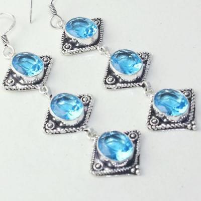 Am 3259c boucles oreilles pendants paire aigue marine bleue bijou achat vente argent 925