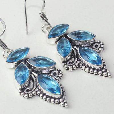 Am 3261c boucles oreilles pendants paire aigue marine bleue bijou achat vente argent 925