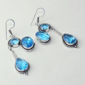 Am 3263a boucles oreilles pendants paire aigue marine bleue bijou achat vente argent 925
