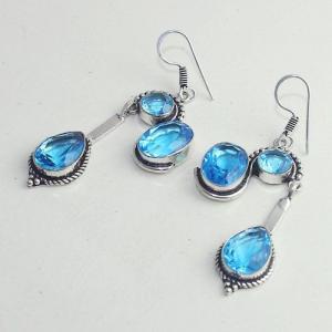 Am 3263b boucles oreilles pendants paire aigue marine bleue bijou achat vente argent 925