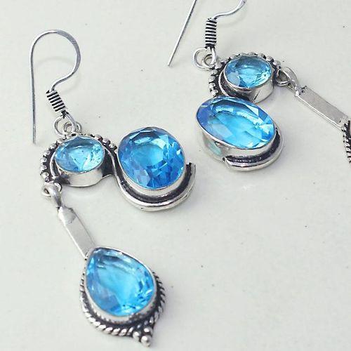 Am 3263c boucles oreilles pendants paire aigue marine bleue bijou achat vente argent 925