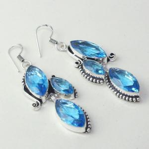 Am 3264a boucles oreilles pendants paire aigue marine bleue bijou achat vente argent 925