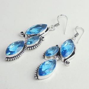 Am 3264b boucles oreilles pendants paire aigue marine bleue bijou achat vente argent 925