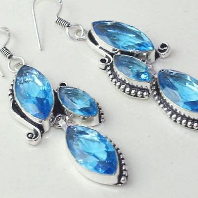 Am 3264c boucles oreilles pendants paire aigue marine bleue bijou achat vente argent 925