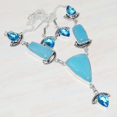 Am 3271a collier boucles oreilles aigue marine calcedoine bleue bijou achat vente argent 925