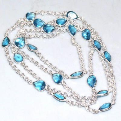 Am 3276a collier sautoir aigue marine bleue 104cm gouttes bijou achat vente argent 925