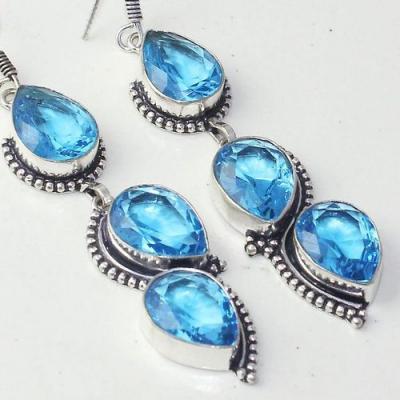Am 3280c boucles oreilles pendants paire aigue marine bleue bijou achat vente argent 925