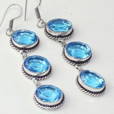 Am 3281c boucles oreilles pendants paire aigue marine bleue bijou achat vente argent 925
