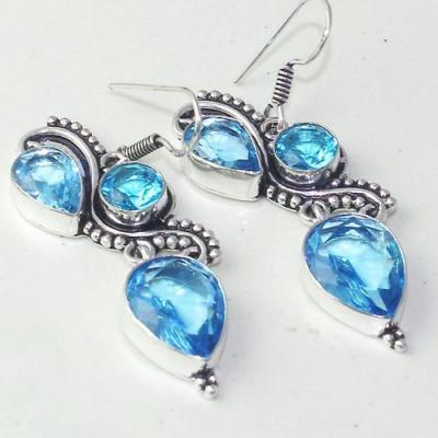 Am 3282c boucles oreilles pendants paire aigue marine bleue bijou achat vente argent 925