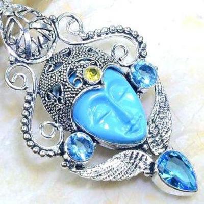 Am 3284c pendentif pendant bouddha aigue marine bleue ovales gouttes bijou achat vente argent 925