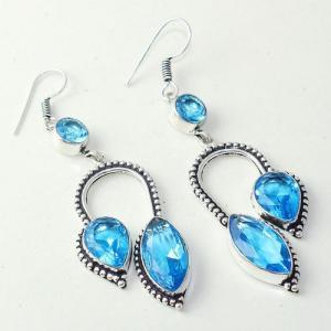 Am 3285a boucles oreilles pendants paire aigue marine bleue bijou achat vente argent 926
