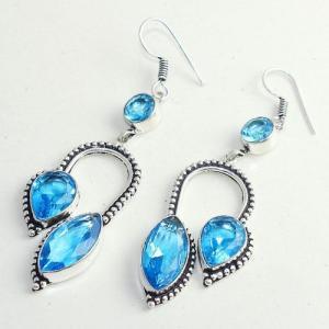 Am 3285b boucles oreilles pendants paire aigue marine bleue bijou achat vente argent 926